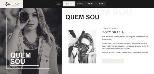 Projeto Site Thais Martins Fotografia